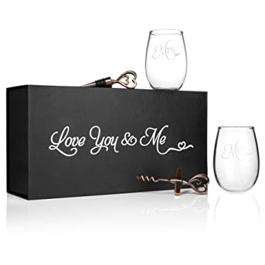 Mr. and Mrs. Wine Glass Set with Wine Bottle Opener and Stopper
