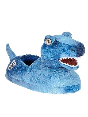 5f2014813652 Build A Bear Boys Girls Blue T-Rex Dinosaur Slippers (XXL (5-