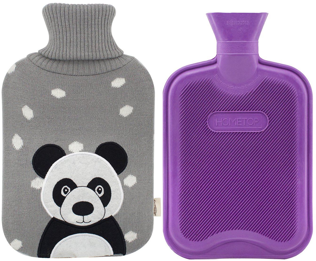 Premium Classic Rubber Hot Water Bottle and Cute Animal Embroidery Knit Cover (Panda/Gray)