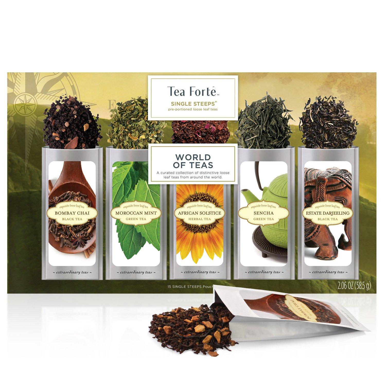 Tea Forte Single Steeps World Of Teas Loose Leaf Tea Sampler, Tea Variety Pack, 15 Single Serve Pouches, Green Tea, Herbal Tea, Black Tea