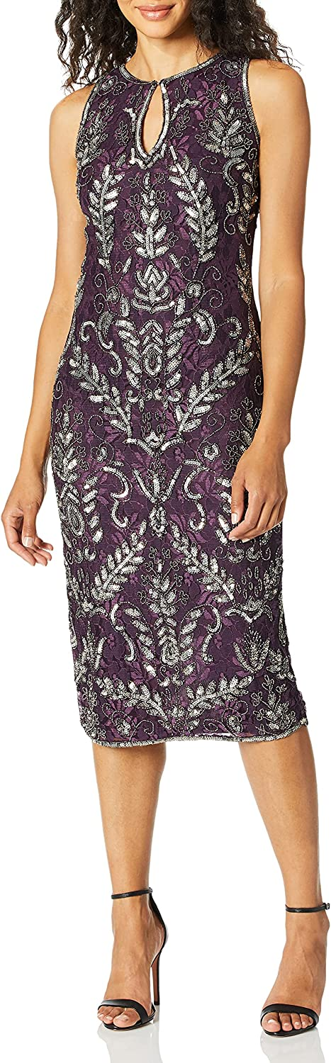 Pisarro Nights Women's Middy Dress Keyhole Quantity limited with Front Floral Philadelphia Mall and