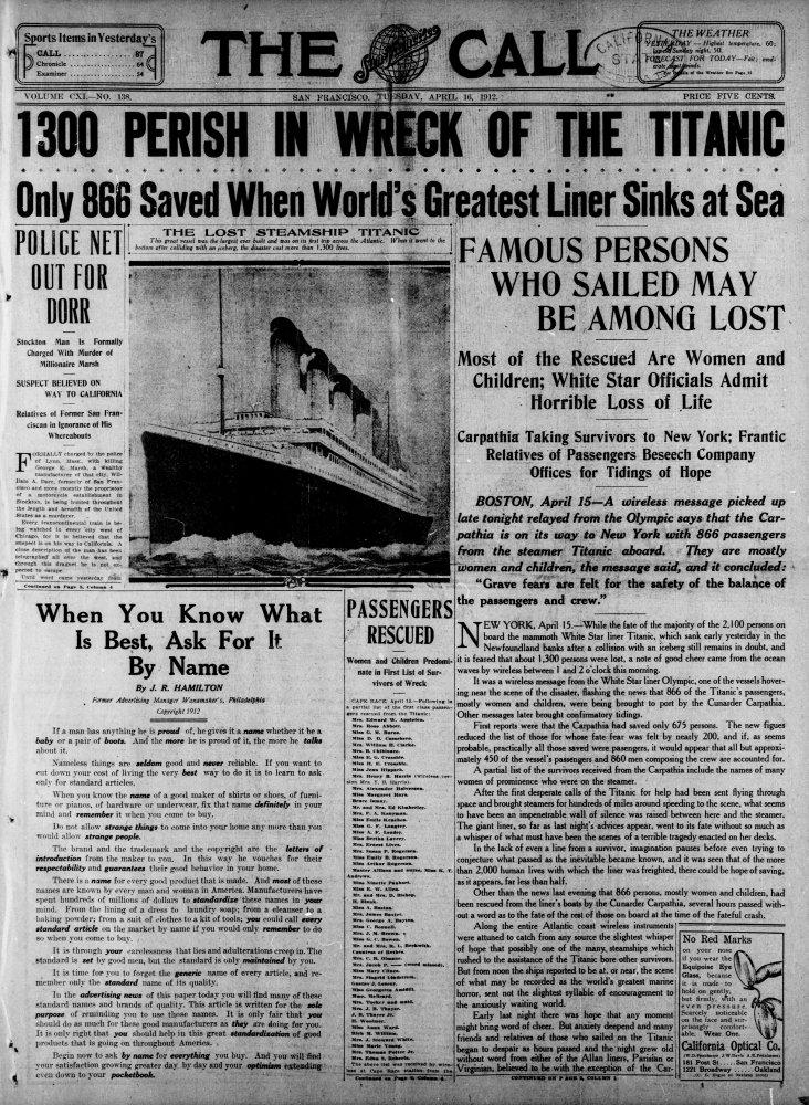 Amazon com: Posterazzi Newspaper The Call 16 April 1912
