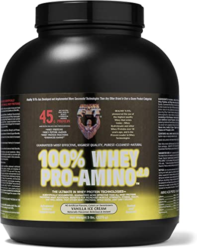 Healthy n Fit 100 Whey Pro Am, Vanilla ice Cream Flavor 5-Pound Bottle Tub