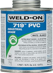 Weld-On 10159 719 PVC Extra Heavy-Bodied Industrial Solvent Cement - Slow-Setting and Low-VOC, White, 1 Pint (16 fl oz)