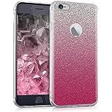 kwmobile Funda para Apple iPhone 6 / 6S - Carcasa de [TPU] para móvil y diseño Degradado de Purpurina en [Rosa Fucsia/Plata/Transparente]