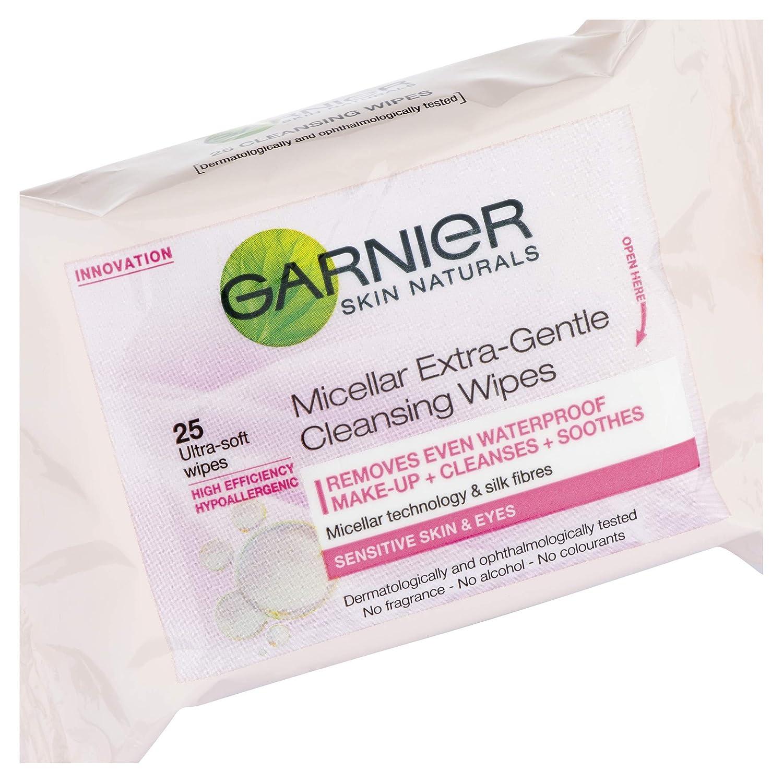 Garnier Skin Active, Toallitas Micelares para Piel Sensible, Pack de 3 x 25 Toallitas: Amazon.es: Belleza