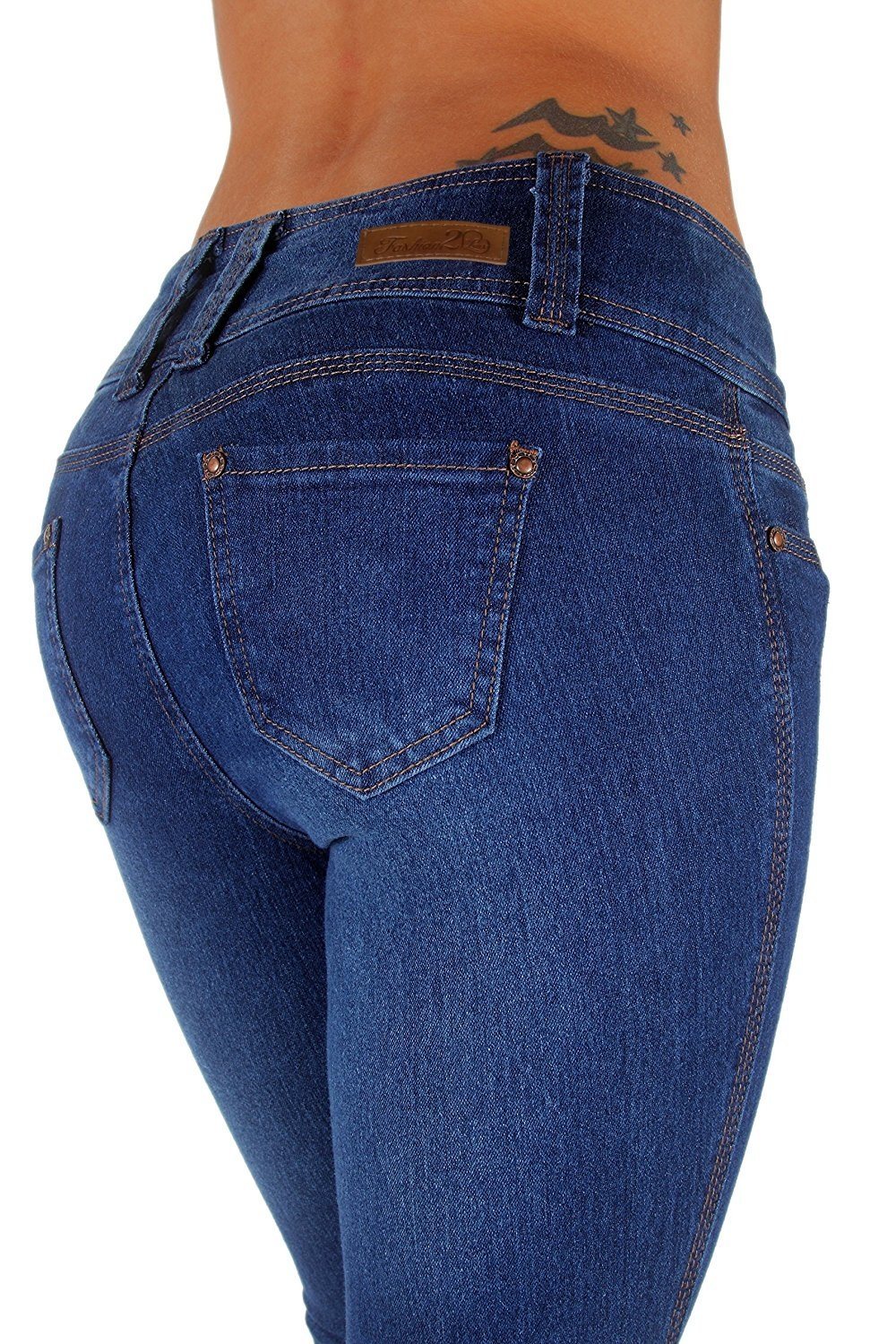 Style N231P – Plus Size, Mid Waist, Butt Lifting, Skinny Leg Jeans in Dark Blue Size 22