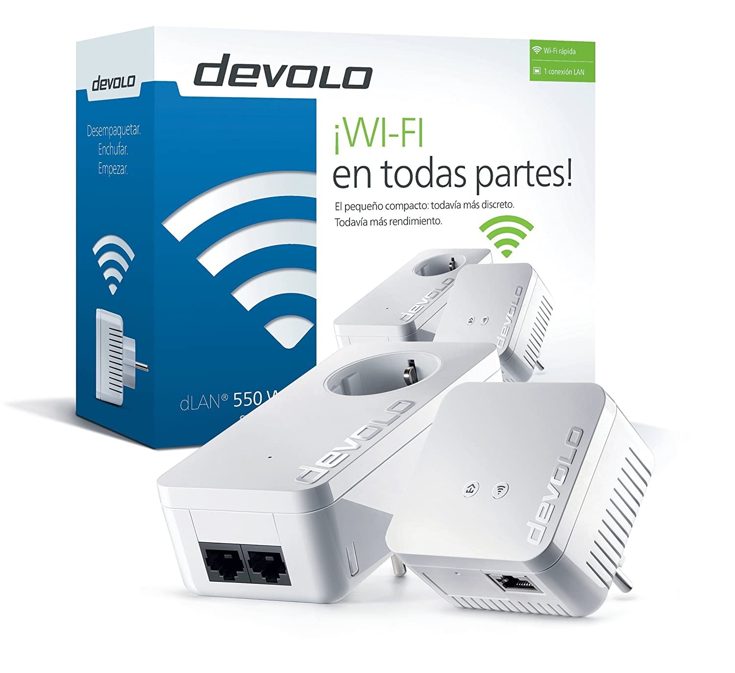 Devolo dLAN 550 WiFi - Kit de inicio PLC Powerline (500 Mbps, 2 x adaptadores, 2 x puertos LAN, enchufe...