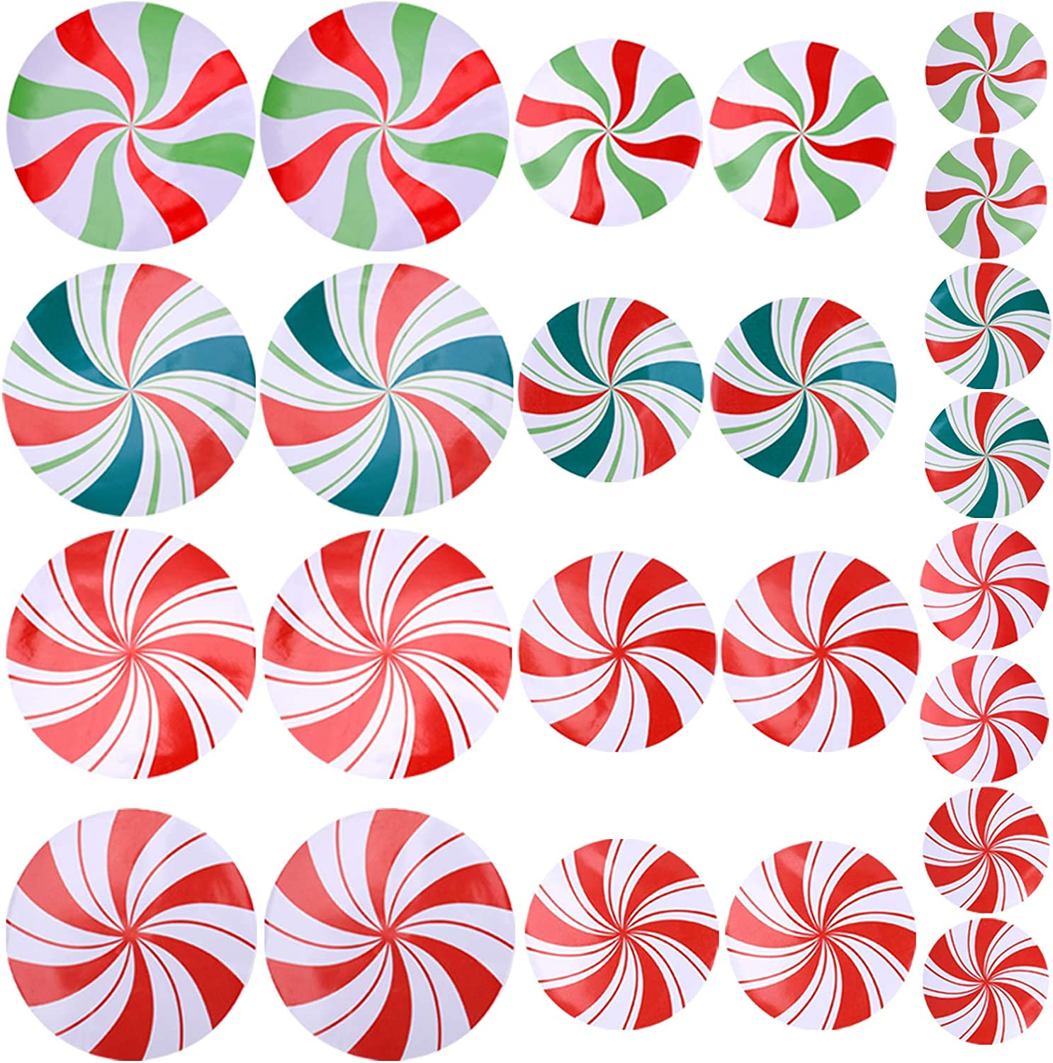 Suwimut 24 Pieces Peppermint Floor Decals Stickers for Christmas Decoration, Candy Party Wall Decals Stickers Decor and Supply