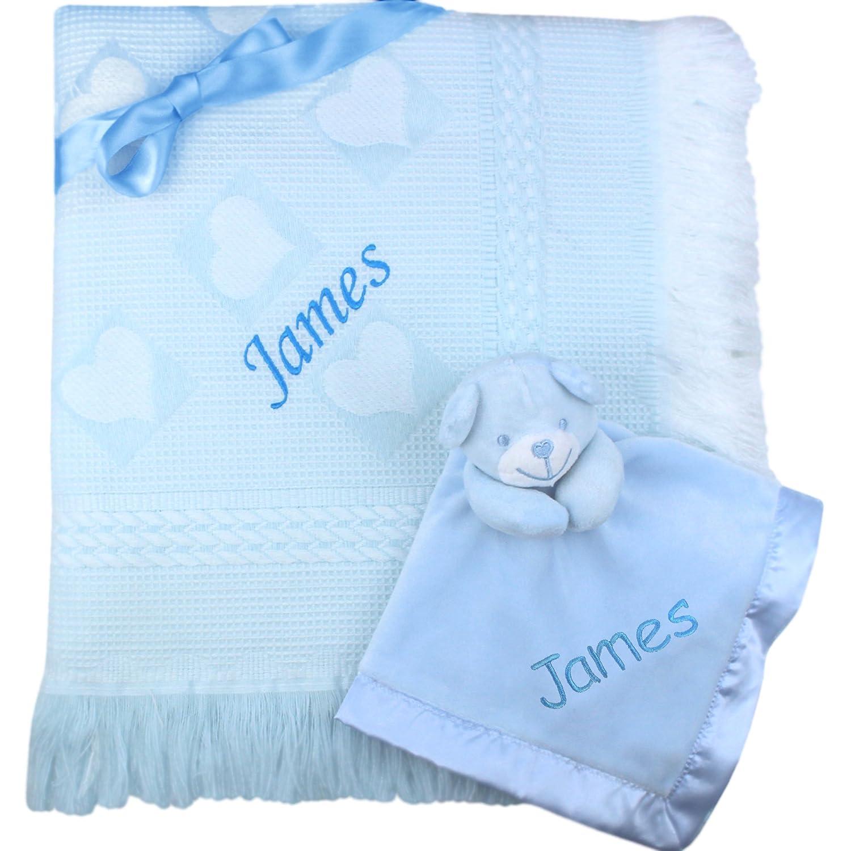 Personalised Gift Baby Shawl Blanket & Cuddly Teddy Comforter Set (Baby Blue) TeddyT's