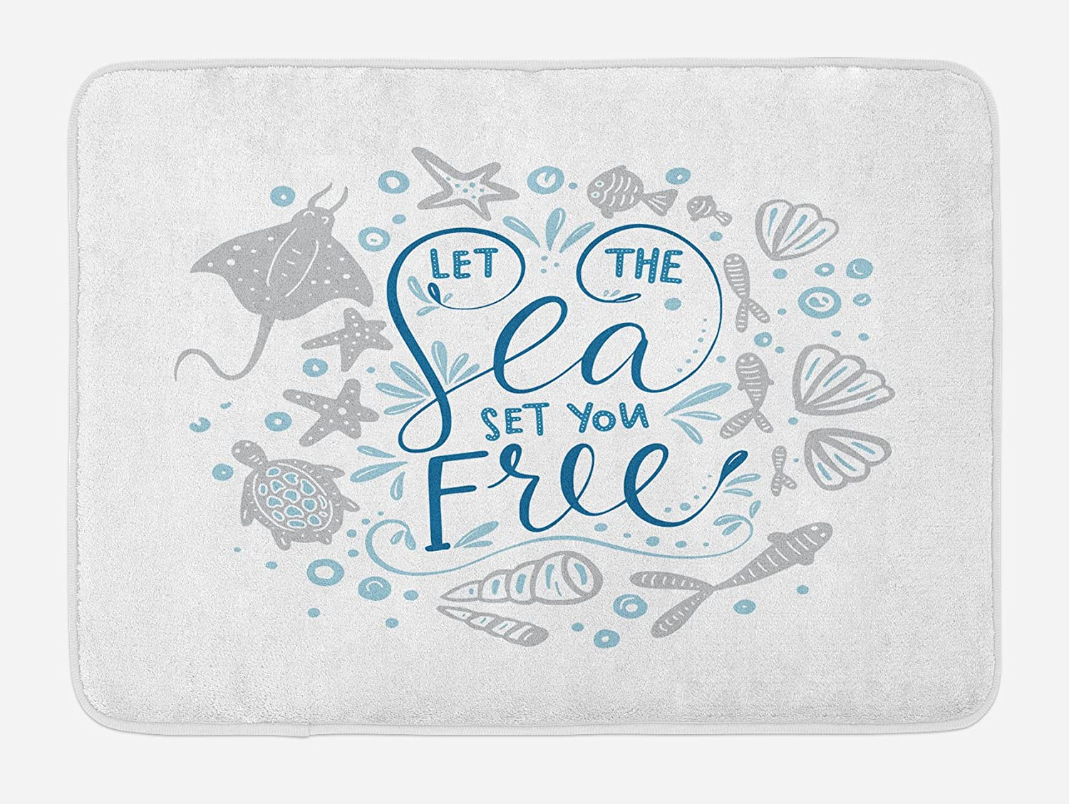 """Ambesonne Nautical Bath Mat, Let The Sea Set You Free Words with Shellfish Turtle and Stingray, Plush Bathroom Decor Mat with Non Slip Backing, 29.5"""" X 17.5"""", Blue Navy"""