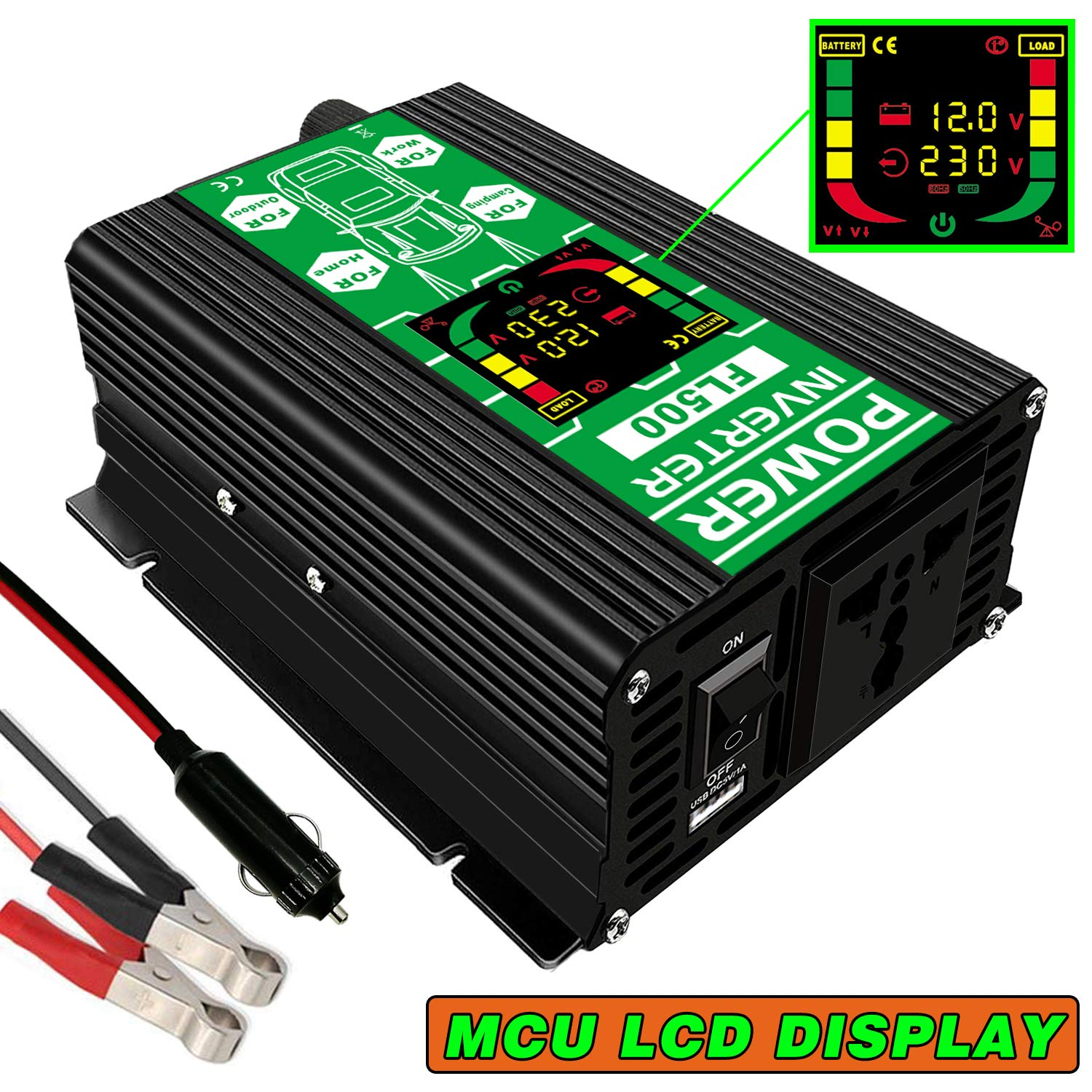 FULAI Convertisseur de tension 12V 220V 500W Transformateur de tension DC 12V vers 220V 500W Onduleur avec Port USB & É cran LCD Guangzhou Fulai Electric Co. Ltd.