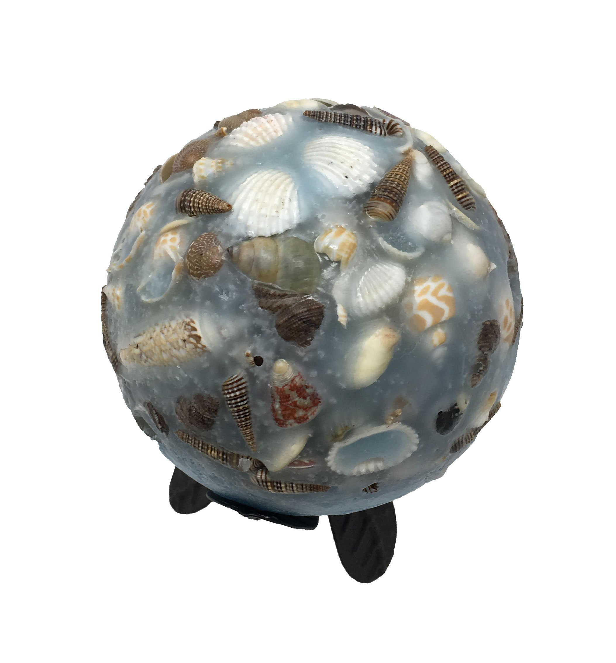 Habersham Candle Wax Pottery Spheres, 4-Inch Diameter with Black Trillium Stand, Seascape