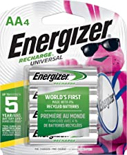 Energizer Recharge Universal, AA, 4 Rechargeable Battery - Pilas (AA, 4, Rechargeable Battery, 4 Pieza(s), Verde, Plata, Amp