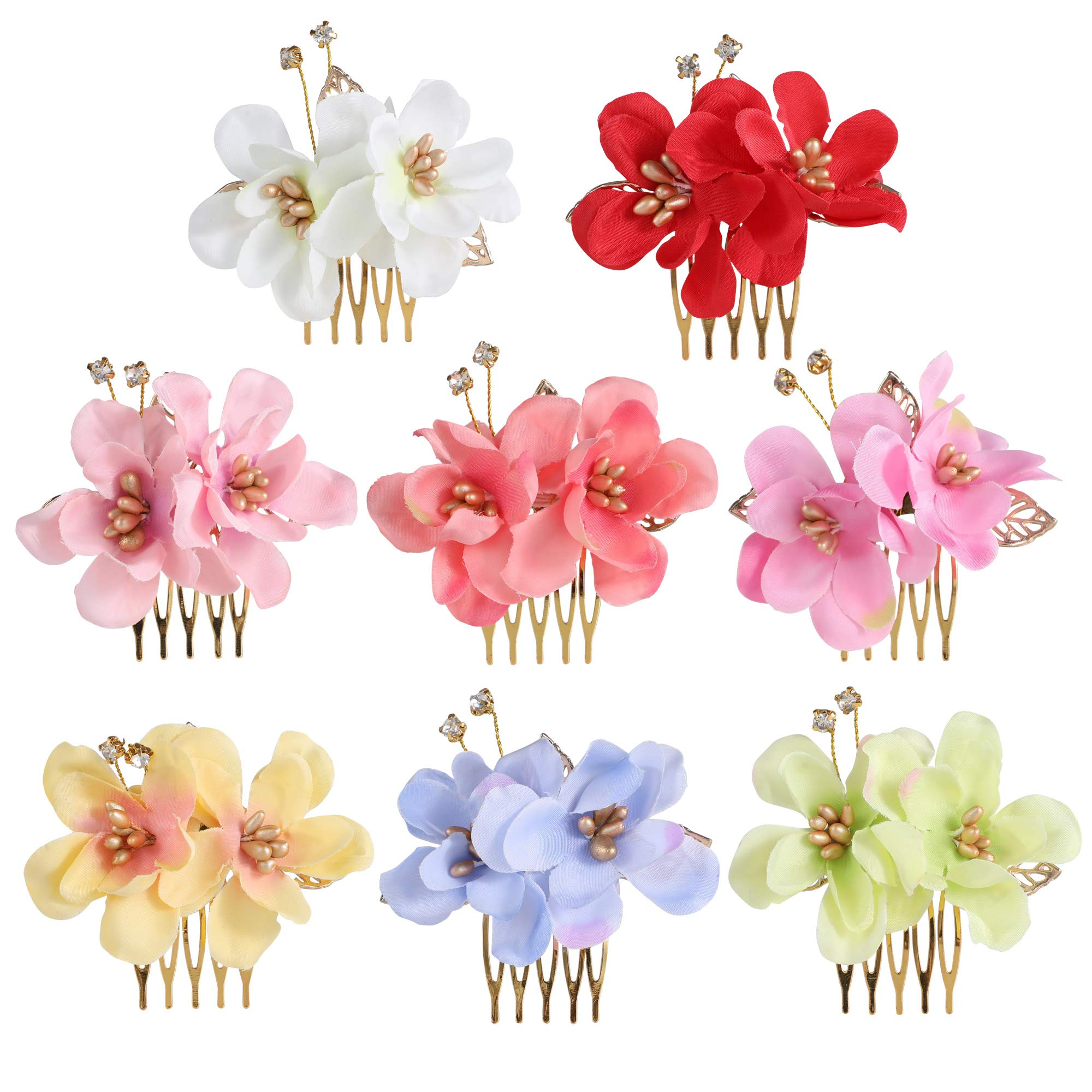 inSowni 8 Pack Hawaiian Luau Party Wedding Bridal Headpiece Artificial Fake Silk Hibiscus Flower Gold Hair Side Combs Clips Pins Barrettes for Women Girls Brides by inSowni