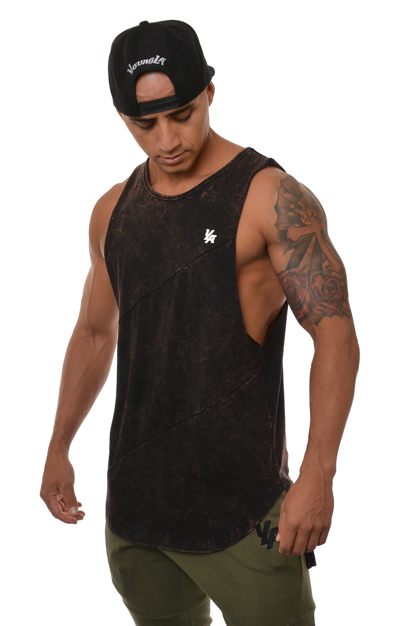 YoungLA Long Tank Tops for Men Muscle Shirt Bodybuilding Gym Athletic Training Sports Everyday Wear 306 Black Acid Washed Small