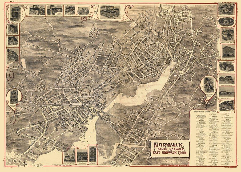 historic pictoric Connecticut Panoramic Map, Norwalk, c1899, 18x24in