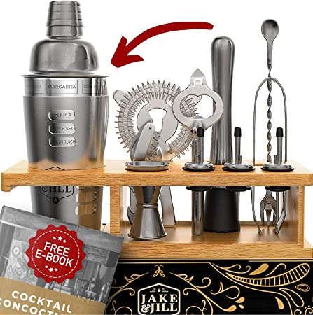 JJ Beginner Bartender Kit Engraved – 12-Piece Cocktail Shaker Set for Home Mixology Stunning Bamboo Stand, and Exclusive Recipes Bonus