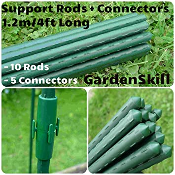 garden poles. 10 x 1.2m (4ft) + 5 connectors plant support frame tubes poles rods garden