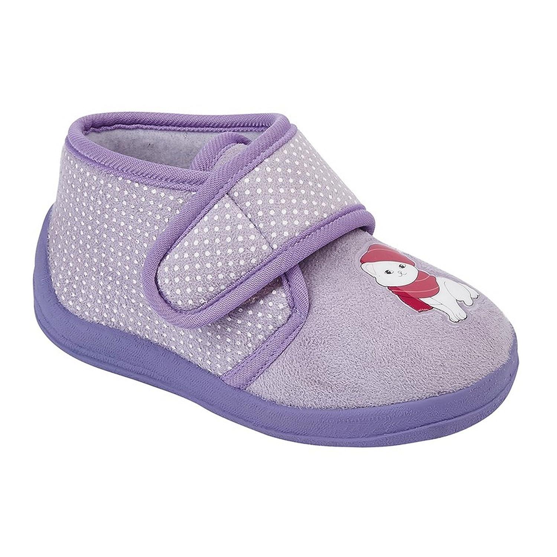 Pantofoline con chiusura a strappo e gattino Sleepers Bambina