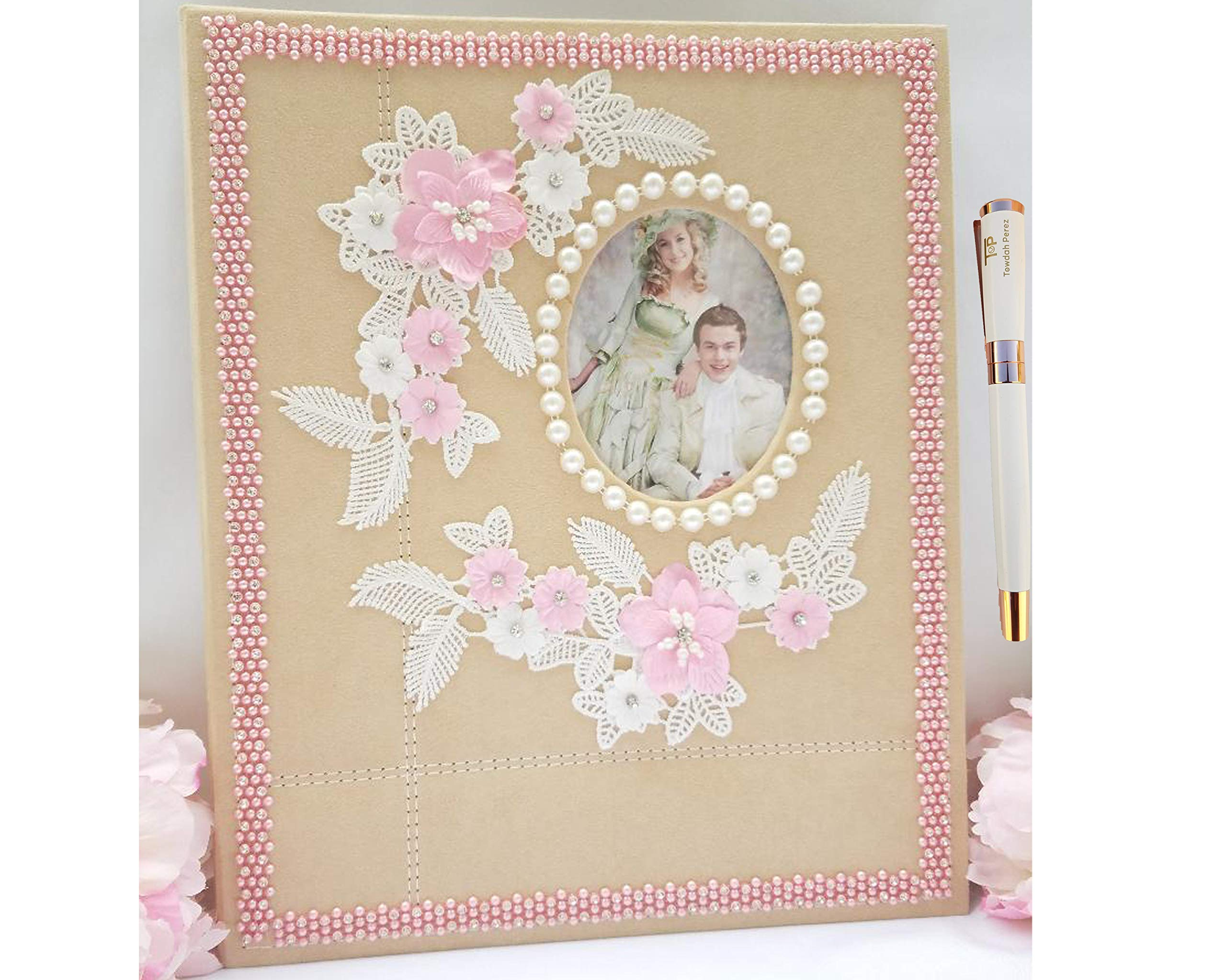 Towdah Perez large self adhesive wedding photo album. 40 pages for 4x6, 5x7, 8x10, 8x12 photos with gift box, luxury white/gold pen. Fabric pearls/bling pink lace flowers wedding album, personalizable by Towdah Perez