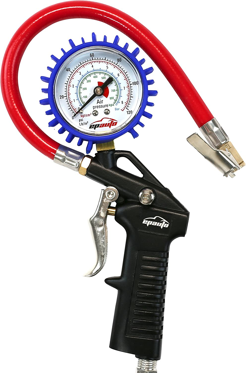 EPAuto Heavy Duty 120 PSI Tire Inflator Gauge with Hose and Quick Connect Plug AT-001-2