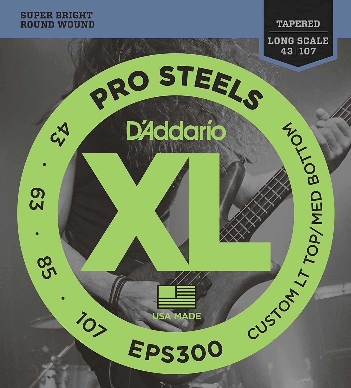 D'Addario EPS300 ProSteels Bass Guitar Strings Custom Light, 43-107, Long Scale D'Addario