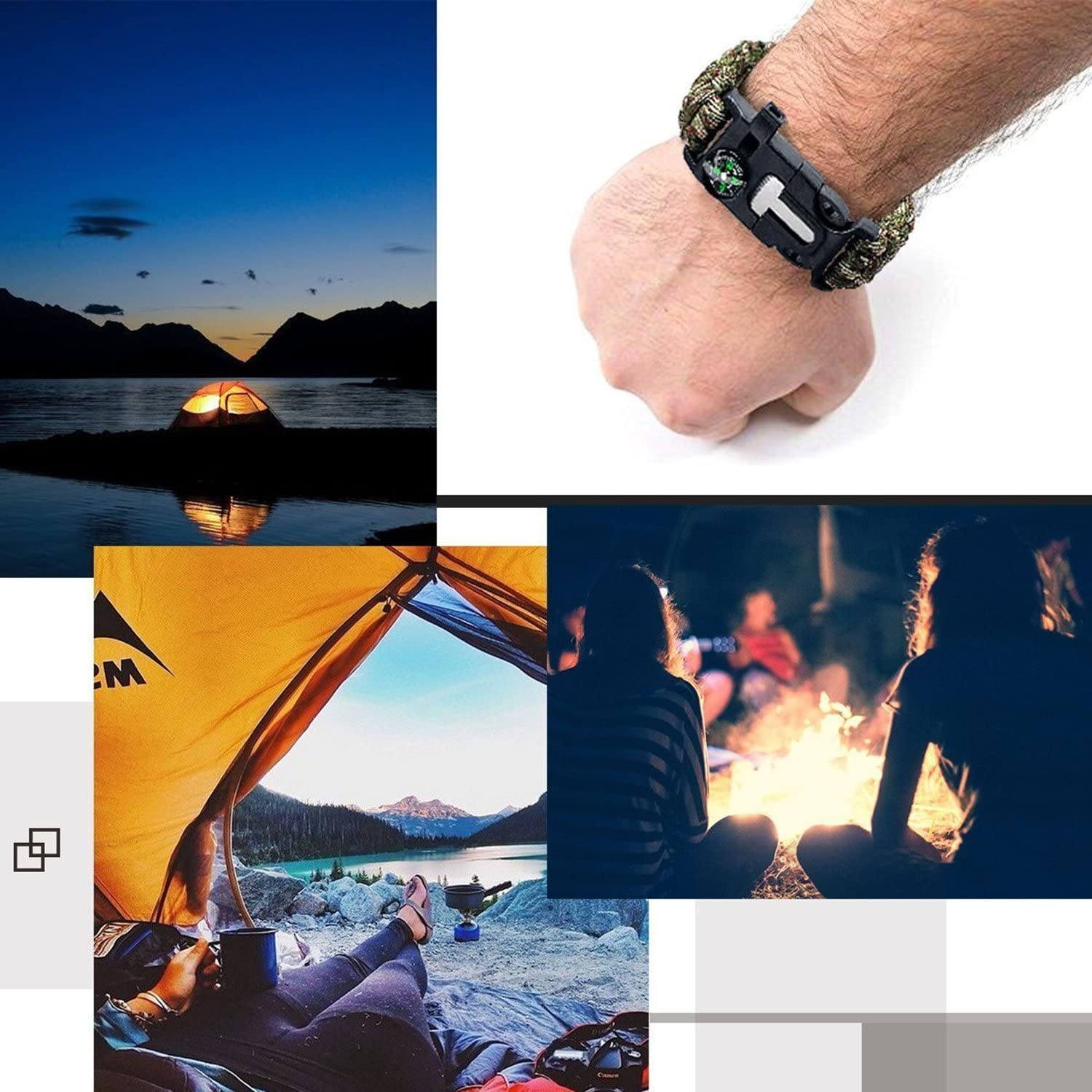 YOMOSI Survival Paracord Bracelet,5 in 1 Emergency Outdoor Survival Kit-Embedded Compass,Fire Starter,Emergency Knife,Whistle,Rescue Rope for Hiking/&Camping