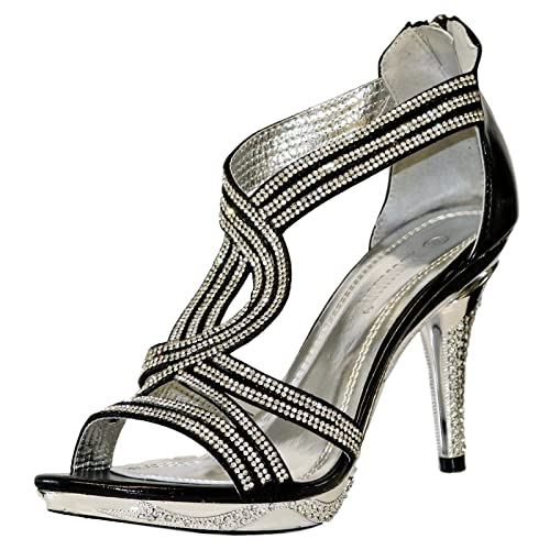 ad6d6791 ROCK ON Styles NUEVO mujer en Negro Fiesta pedrería tiras en Tobillo Tacón  Bajo Medio Zapatos De Plataforma Sandalias Talla 66-06 - Negro, 7 UK:  Amazon.es: ...