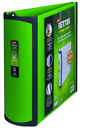 Amazon.com : Staples 3 Inch BetterView Binder with D-Rings (Green ...