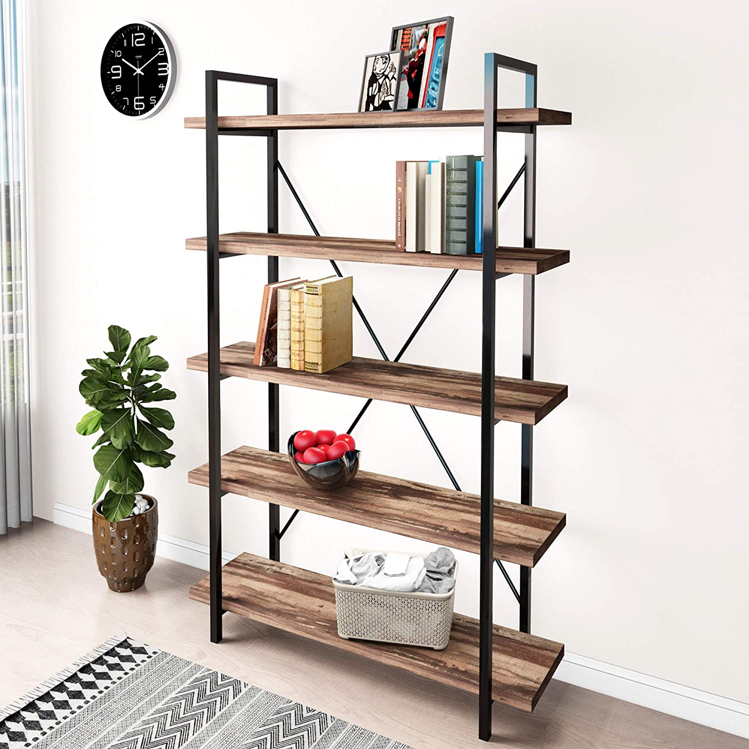 45MinST 5-Tier Vintage Industrial Style Bookcase/Metal and Wood Bookshelf Furniture for Collection,Vintage Brown, 3/4/5 Tier (5-Tier)