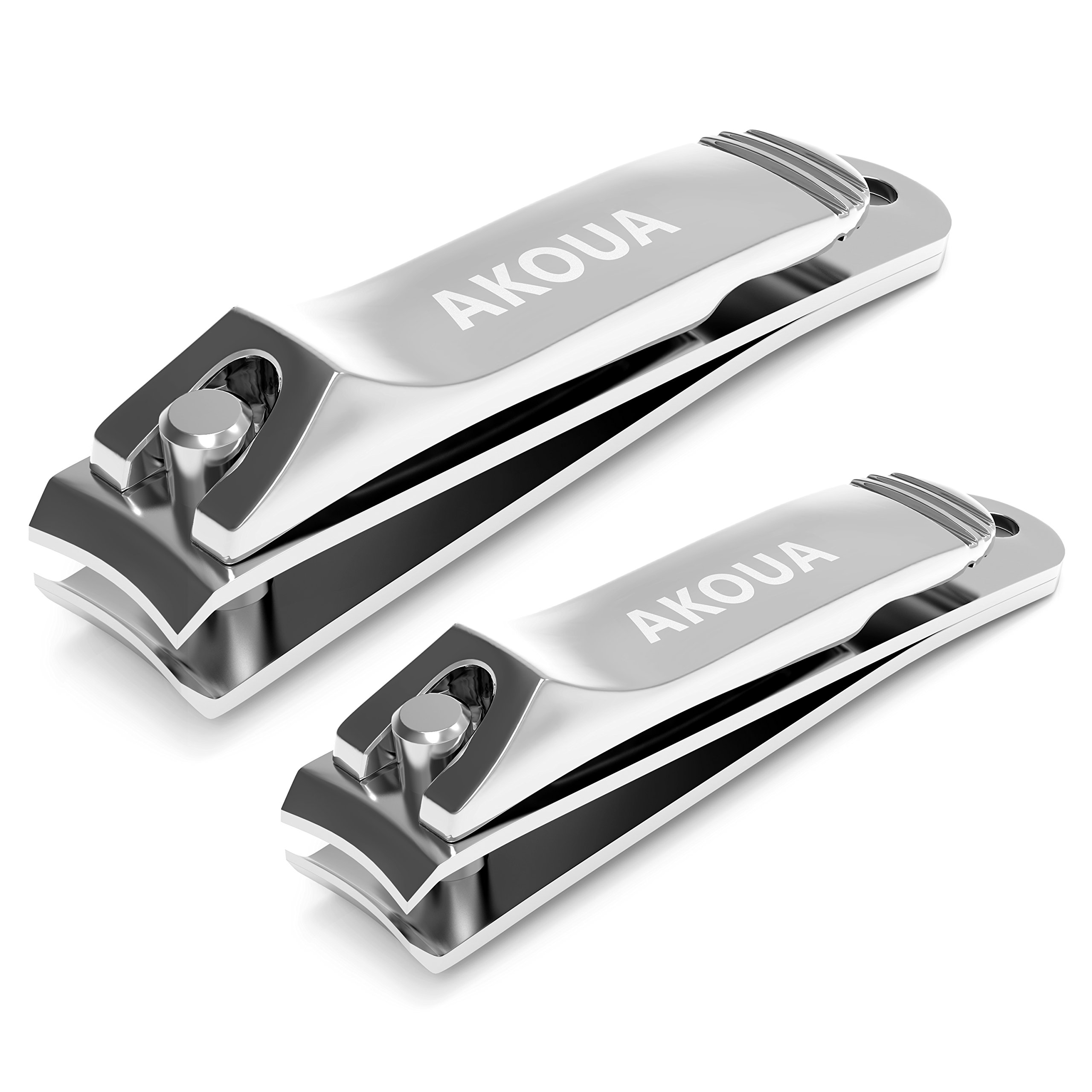 Nail Clipper Set - Ultra Sharp Fingernail & Toenail Clippers with Nail File and Leather Pouch by AKOUA