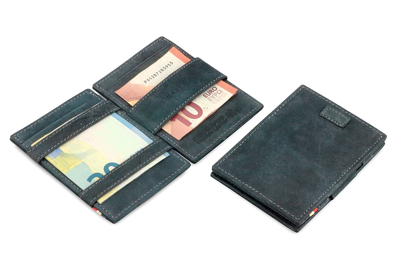 Garziniマジック財布RFIDカード袖レザーcavareヴィンテージ B07CTFL275 ブラック(Carbon Black)