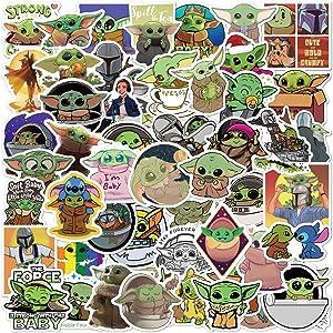 ZAYALI Baby Yoda Stickers, 50 Pcs, Cute & Funny, The Mandalorian Star Wars Decal for Hydro Flask, Laptop, Mug Water Bottles, MacBook, Skateboard, Guitar, Car, Motorcycle, Bike, PS, Xbox ONE…
