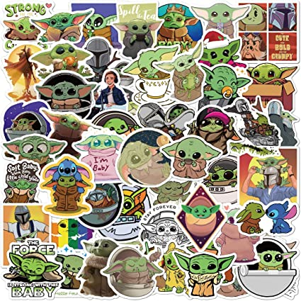 Baby Yoda Stickers 50pcs Baby Yoda Laptop Stickers Waterproof Vinyl Baby Yoda Water Bottle Stickers Luggage Stickers Car Skateboard Decals for Baby Yoda Fans