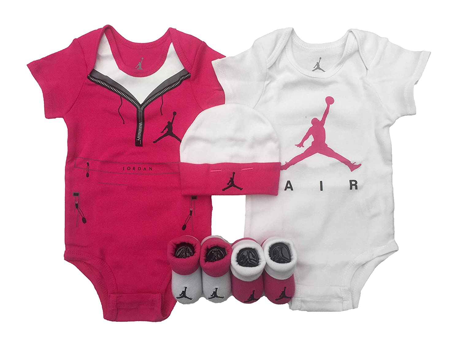 f40d966d7c6 Amazon.com: NIKE Air Jordan Infant Boys Girls 5-Piece Set (0-6 Months,  White(IGSPJ0915-3933)/Vivid Pink): Clothing