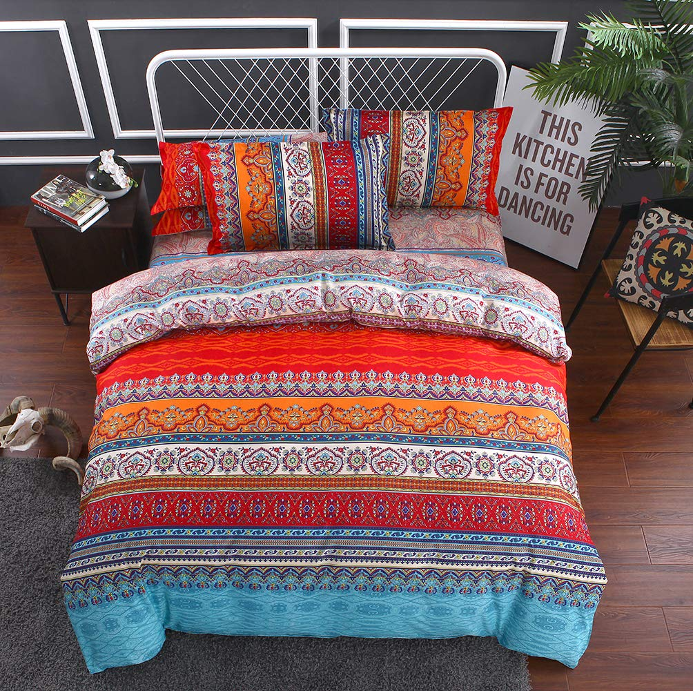 CoutureBridal Colorful Paisley Duvet Cover Set Full 79x90 Red Retro Floral Bohemian Striped Print Geometric Patterned Bedding Comforter Cover Set with Zipper, 3 Pieces(1 Duvet Cover+2 Pillowcases) FMCBCATSJTMZWCF-Red-Full