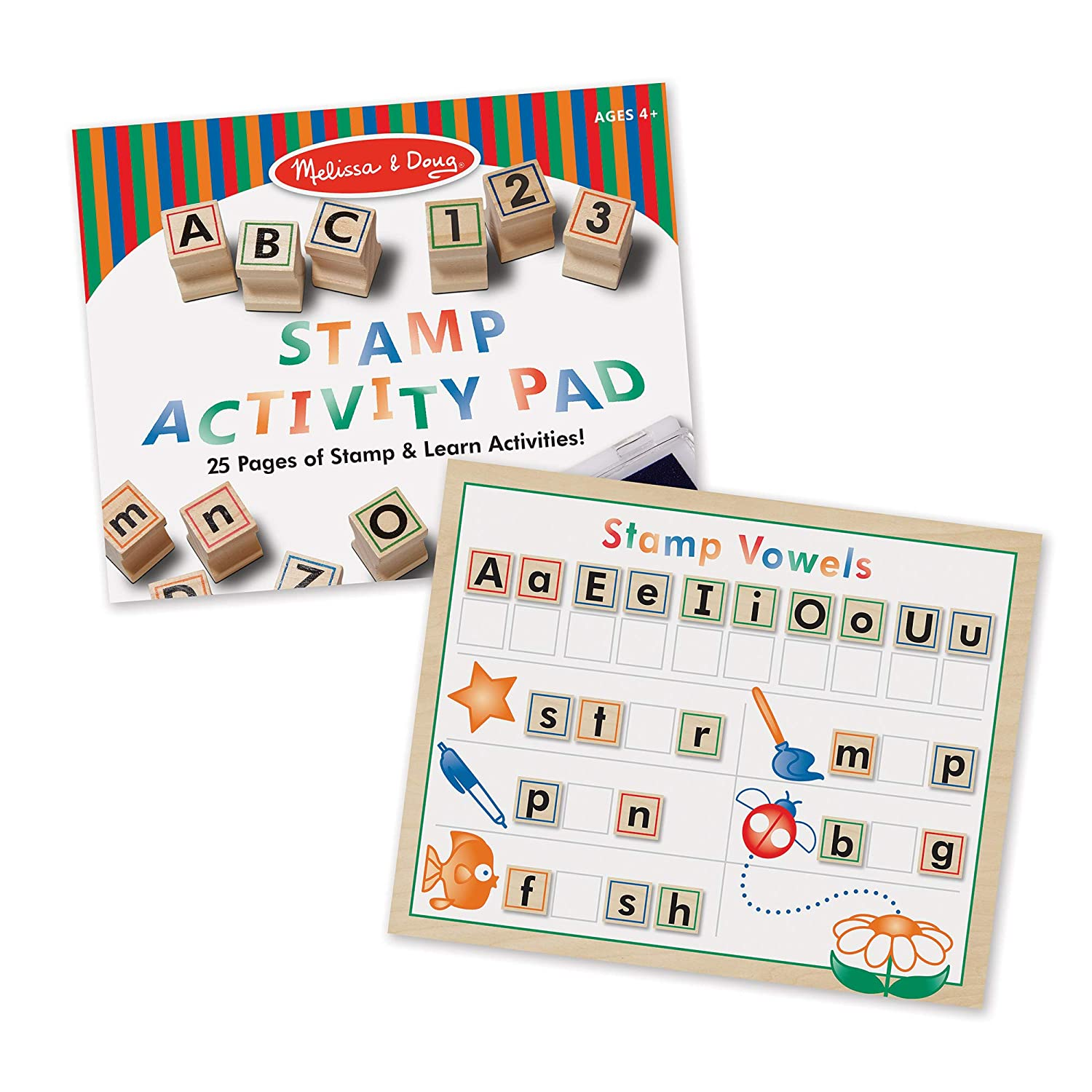 Melissa Doug Deluxe Letters And Numbers Wooden Stamp Set