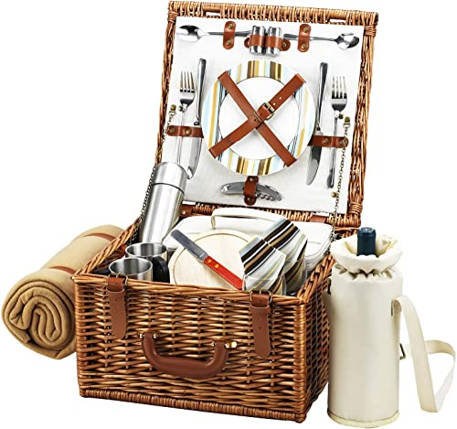 GIFTS PLAZA D Cheshire Basket for 2, Coffee Set and Blanket, Picnic Backpack Bag Green Strips
