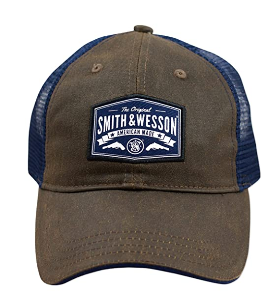 bd8e8ed0 Smith & Wesson Oil Cloth Cap with Blue Mesh Back at Amazon Men's ...