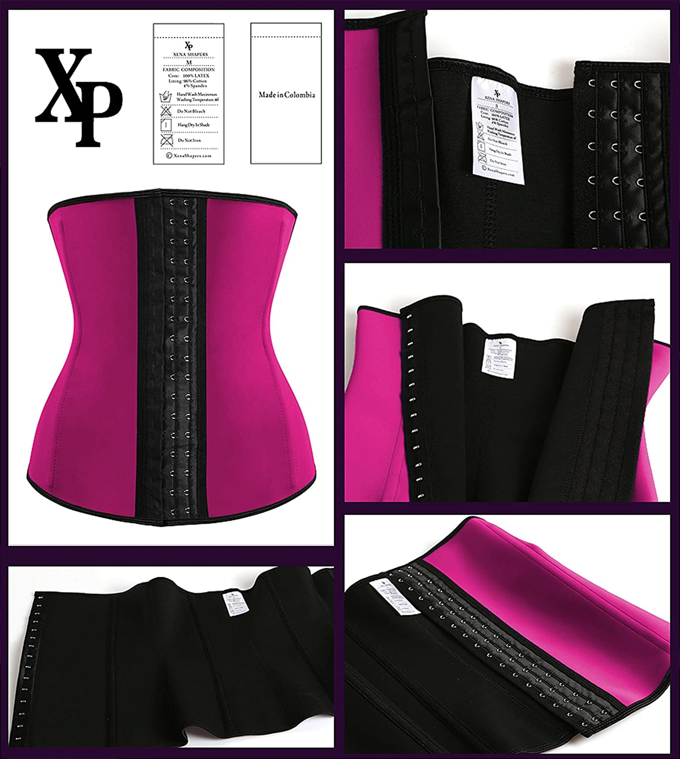 LiLuv Womens Latex Steel Boned Compression Waist Trainer Corset Waist Trimmer Cincher and Body Shaper Girdle