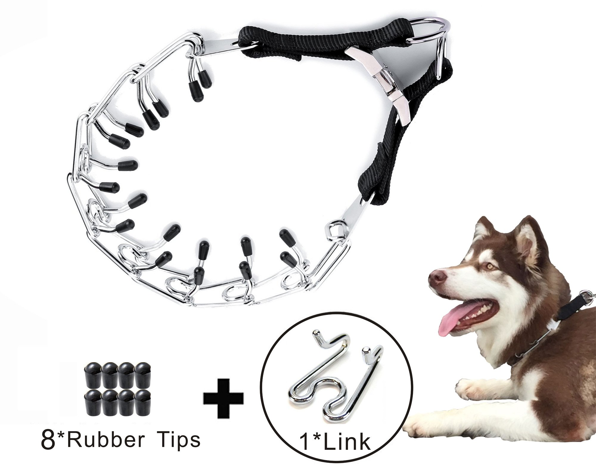 Partner Dog Prong Training Collar with Quick Release Snap Buckle and Rubber Caps Plated Adjustable Training Dog Collar for Medium and Large Dogs FREE EXTRA 1 LINKS AND 8 RUBBER CAPS(23.6 inches)