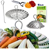 "NEW DESIGN - Veggie Steamer Basket - Large - 6.4-10.3"" - 100% Stainless Steel - PRIME Safety Tool + Cooking eBook + Julienne Vegetables Peeler - Fits 5/6/8 Quart (qt) Instapot Electric Pressure Cooker"