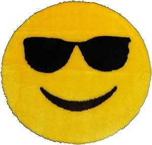 Walk on Me Emoji Rug - Soft and Cute - Made in France - Perfect Emoji Mat Fit for Any Room - Dorm Bed Bathroom Kids Room Emojis (Sunglasses)