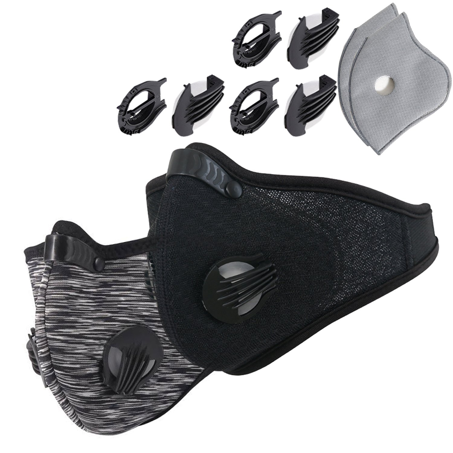 Dustproof Masks - Activated Carbon Dust Mask with Extra Filter Cotton Sheet and Valves for Exhaust Gas, Pollen Allergy, PM2.5, Running, Cycling, Outdoor Activities (2 Set Black and Gray, Dust Masks)