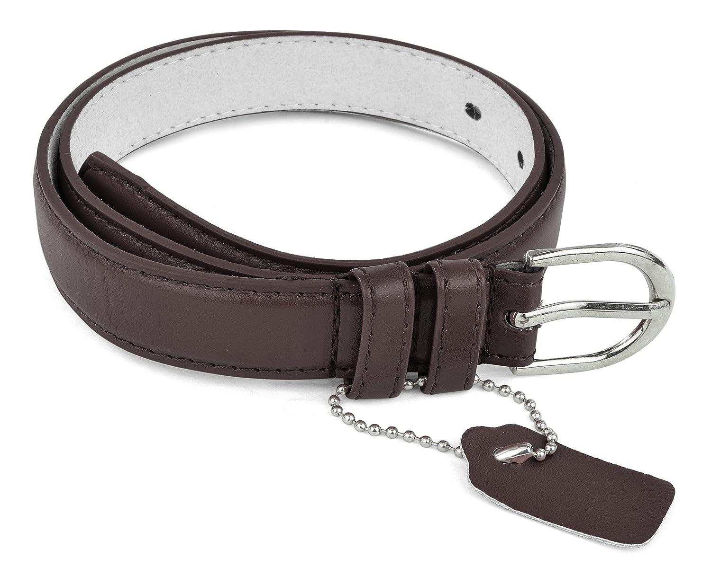 Girls//Kids Skinny PU Leather Belt Polished Buckle Formal Casual Dress Belle Donne