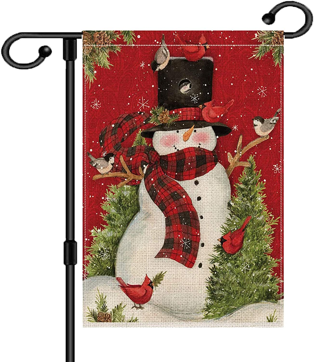 Winter Holiday Christmas Garden Flag Double Sided Snowman with Buffalo Plaid Scarf Yard Outdoor Decoration 12.5 x 18 Inch