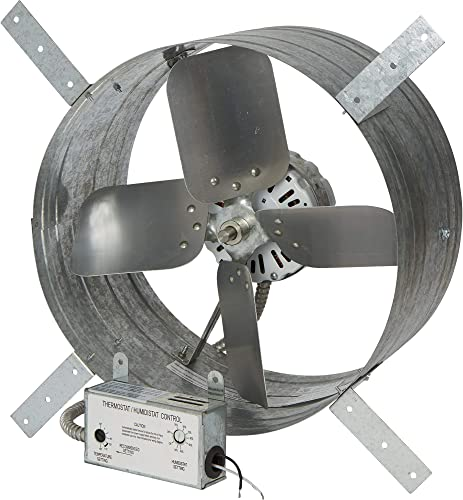 Strongway 14in. Gable Exhaust Fan – 1 8 HP, 1600 CFM, with Thermostat and Humidistat, for 2500 Sq. Ft. Attic