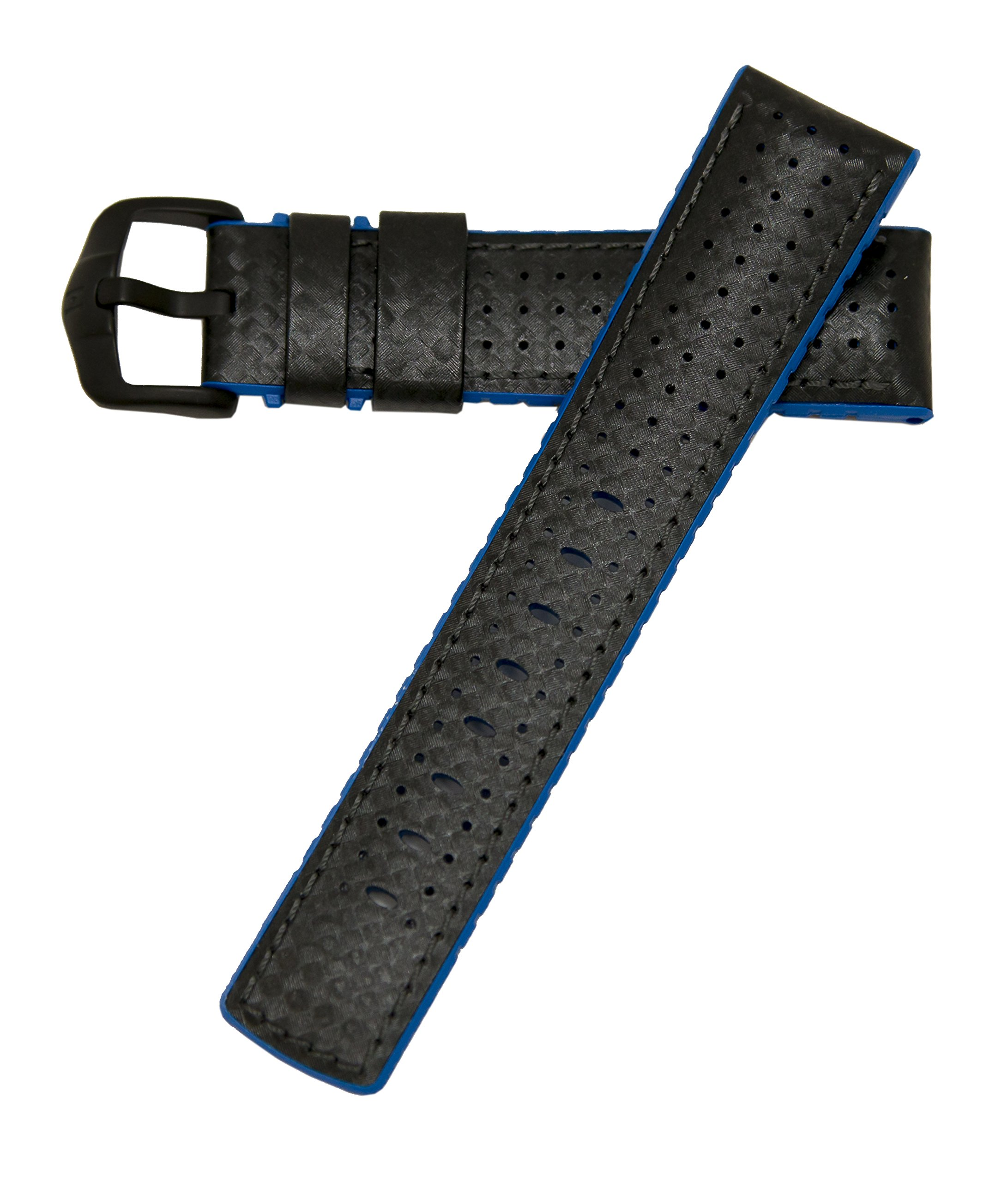 Hirsch Performance ARYTON Carbon Fiber Leather Sport Watch Strap Rubber Lined Black w/Blue Lining 20mm
