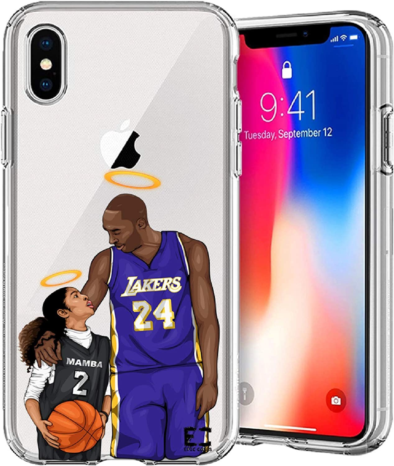 iPhone 6/6S iPhone 7/iPhone 8 Case Epic Cases Ultra Slim Crystal Clear Basketball Series Soft Transparent TPU Case Cover Apple - (Mamba and Gigi ...